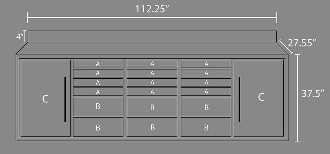 18 Drawer Midnight Pro Series 9FT 4 1/4 Workbench
