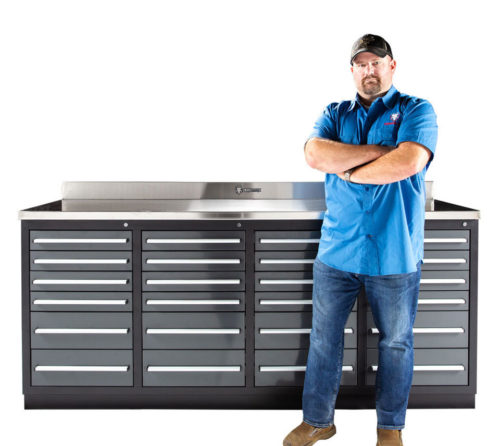 24 drawer heavy duty workbench with drawers
