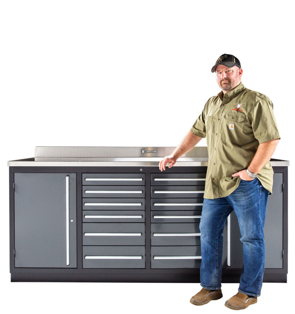 12 Drawer Industrial Workbench With Side Cabinets Stainless Steel Top