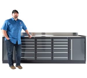 Heavy duty industrial workbench with drawers
