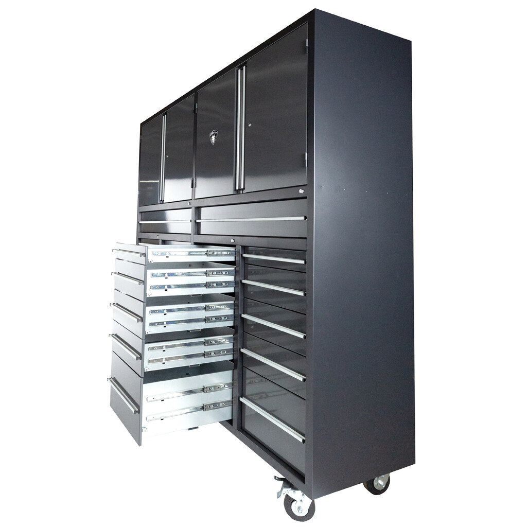 22 Drawer Heavy Duty Industrial Roll Around Tool Box with Twin Cabinets from Dragonfire Tools