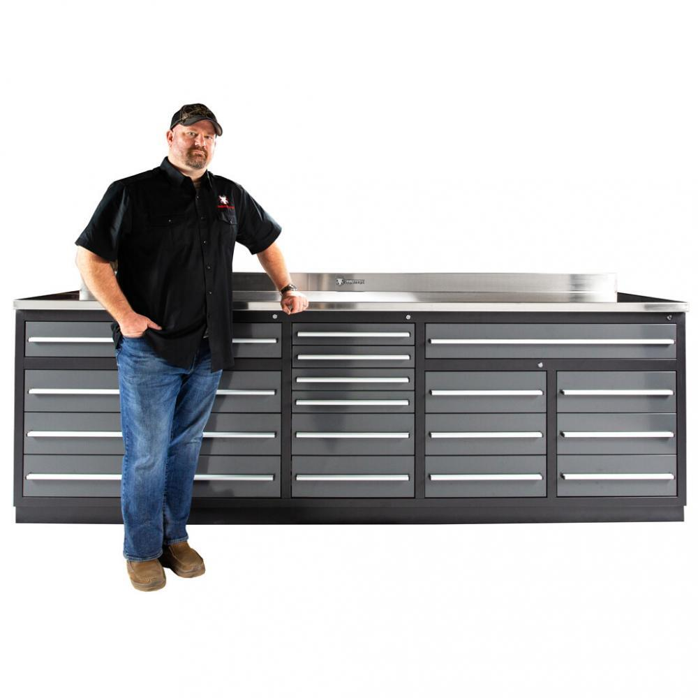 20 Drawer Heavy Duty All Steel Garage Workbench W Stainless Steel Top