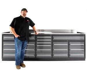 20 Drawer Midnight Pro Series Heavy Duty Industrial Workbench with Drawers