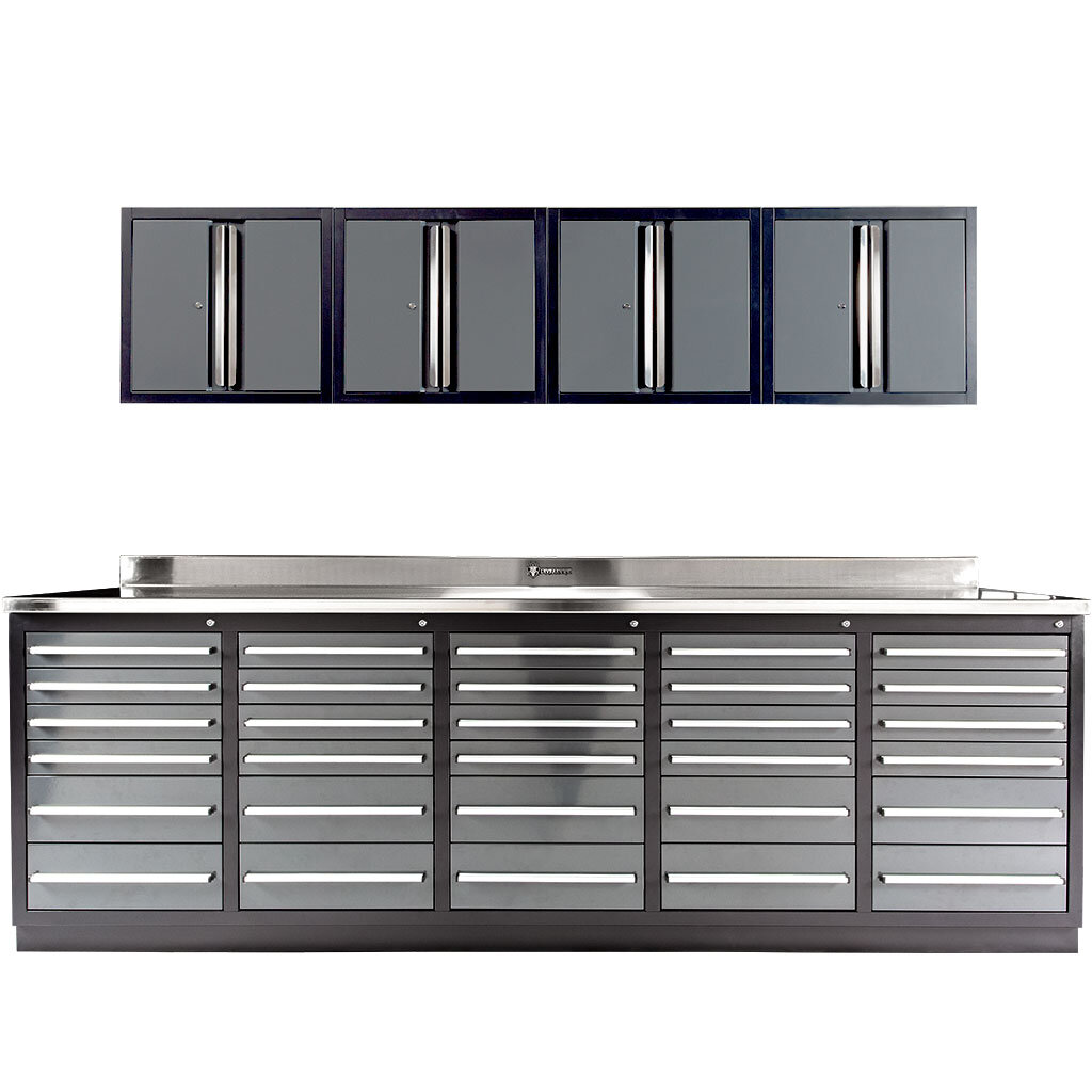 30 Drawer Industrial Workbench with Wall Cabinets